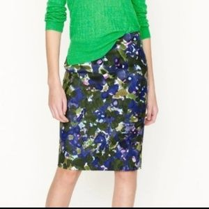 J. Crew No.2 Pencil Skirt Garden Watercolor 4 NEW